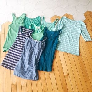 Tops - 8 basic top bundle (blues and greens)
